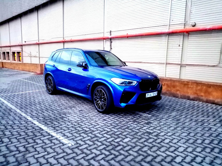 The X5 M Competition First Edition is distinguished by special blue paint and darkened trim. Picture: PHUTI MPYANE