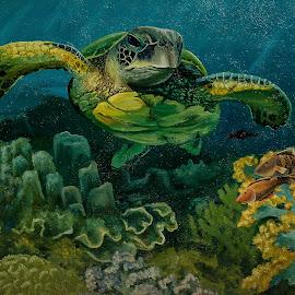 Mural by Sergei Tokmakov - Illustration Animals ( corals, underwater, cebu, mural, turtle )