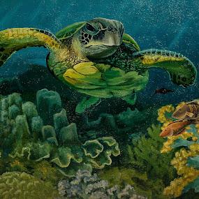 Mural by Sergei Tokmakov - Illustration Animals ( corals, underwater, cebu, mural, turtle,  )