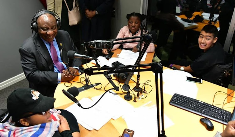 President Cyril Ramaphosa in the RX Radio studio during a visit to the Red Cross Children's Hospital in Cape Town.