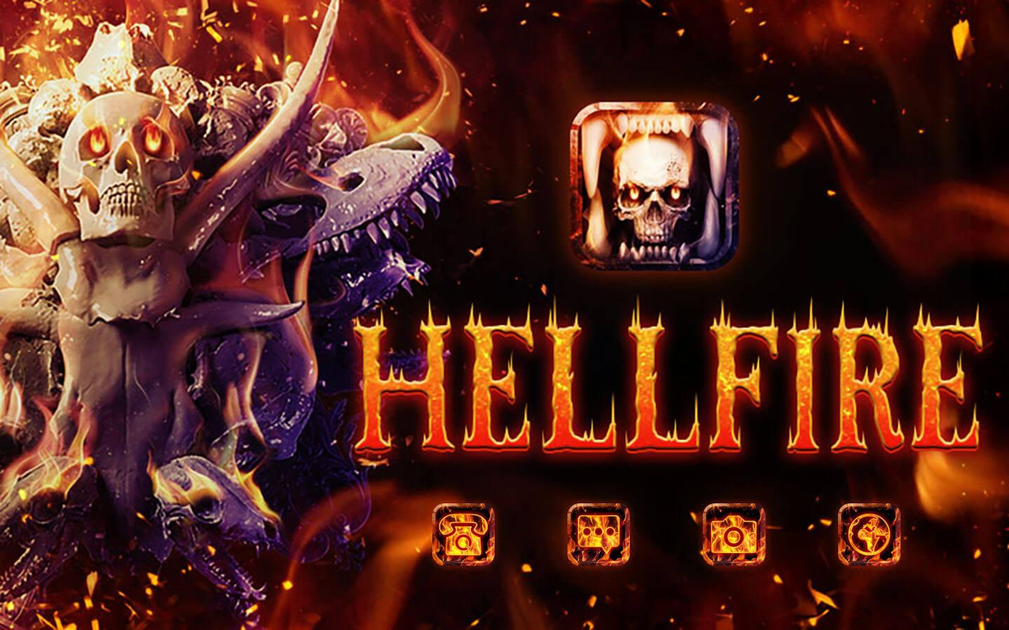 Skull Theme: Skeleton Hellfire wallpaper HD- screenshot