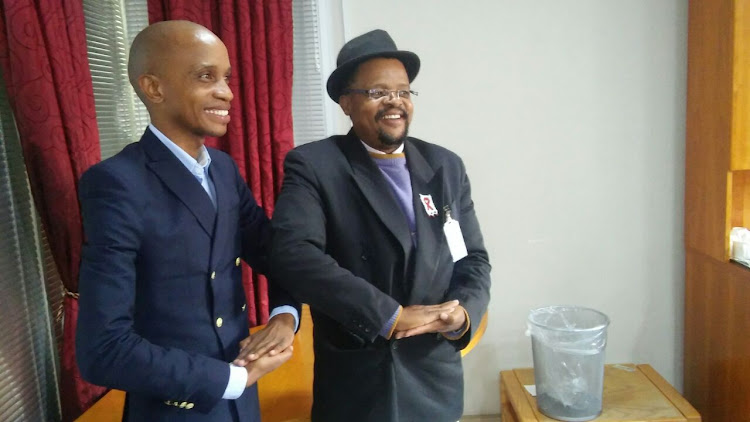 Buang Jones, provincial manager of the SA Human Rights Commission in Gauteng, with Tembisa hospital CEO Lekopane Mogaladi (right) after briefing the media following a hospital tour.