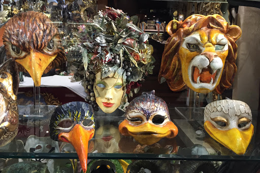 Venice-shop-masks.jpg - Traditional Venetian masks in a shop window along the Procuratie Vecchie on Piazza San Marco, Venice.