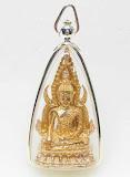 พระพุทธชินราชเจ้าสัวมหาเศษฐี หลวงพ่อพัฒน์ วัดห้วยด้วน เนื้อขันลงหิน พร้อมเลี่ยมกรอบผ่าหวายเงินเปอร์เซ็นหวงหมุนได้