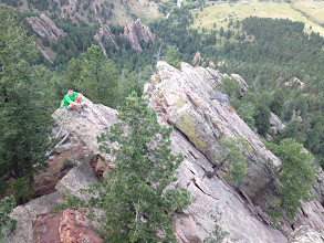 Photo: Homie at the start of the North Arete of the First Flatiron.