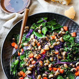 Rainbow Power Greens Salad with Black Eyed Peas {Vegan, Gluten Free}.