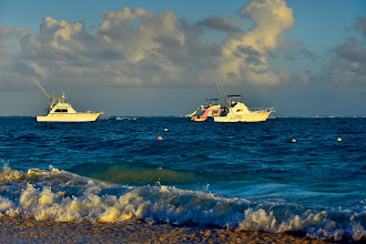 Photo: Sunrise on beach, view from Hotel Vista Sol Punta Cana