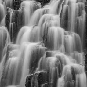 Silvery Silk by Mike Lee - Black & White Landscapes ( peaceful, black and white, silky water, texture, serene, cascade, background, waterfall, white water,  )