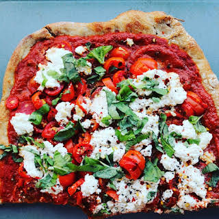Double Tomato, Basil and Ricotta Homemade Pizza.