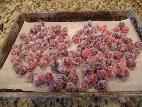 Drain the cranberries and toss them in super fine or regular sugar to coat...