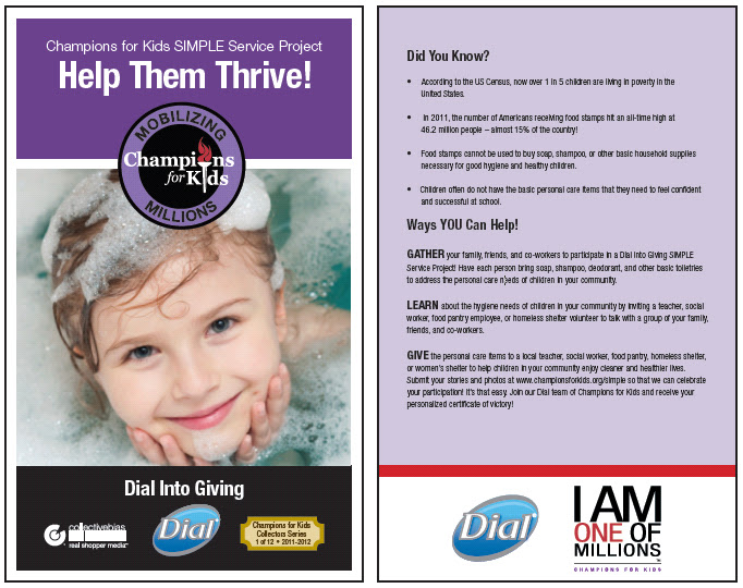 Photo: I wanted to get some inspiration and find out a few facts about children's hygiene needs so I visited Champions for Kids to look at the Dial Into Giving Project Card. {dl.dropbox.com/u/40791709/Dial/SSP%20Cards%20-%20DIAL.pdf}  Did You Know? According to the US Census, now over 1 in 5 children are living in poverty in the United States. In 2011, the number of Americans receiving food stamps hit an all-time high at 46.2 million people – almost 15% of the country! Food stamps cannot be used to buy soap, shampoo, or other basic household supplies necessary for good hygiene and healthy children. Children often do not have the basic personal care items that they need to feel confident and successful at school.