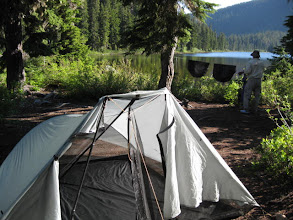 Photo: View of the huge interior space in this 3 person Tarp Tent (under 3 lbs), drying out the gear.