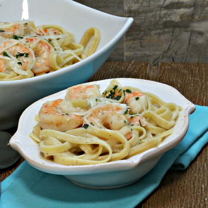 Skinny Shrimp Alfredo - Healthy Shrimp & Pasta Recipe