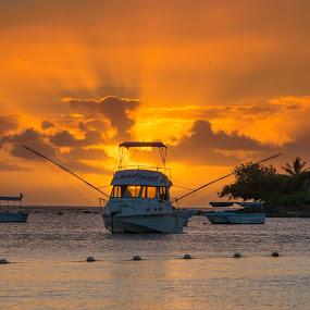 Mauritius by Richard Ryan - Landscapes Sunsets & Sunrises ( copper, beach, boat, rays, island,  )