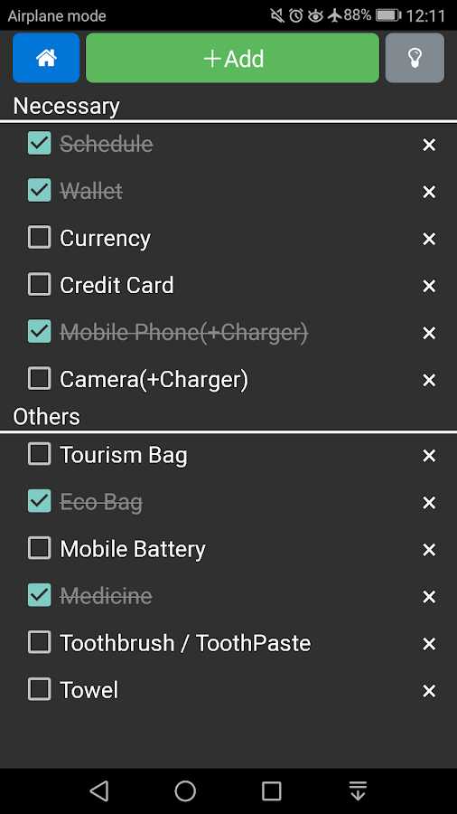 Packing list for domestic travel- screenshot