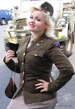 Photo: Portraying a WAC, Connie Nieves of Grafton, Ohio, promoted the Liberty Aviation Museum and its B-25 Georgie's Gal.