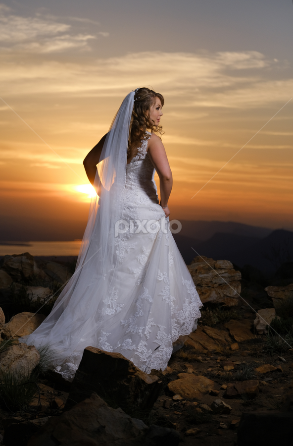 Sunset Bride by Lood Goosen (LWG Photo) - Wedding Bride ( bride, wedding dress, woman, wedding photography, bride groom, weddings, wedding day, wedding photographers, sunsets, brides, wedding )