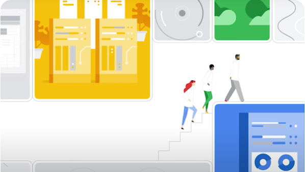 Thumbnail from video: 3 people climb steps past windows into various data storage architectures
