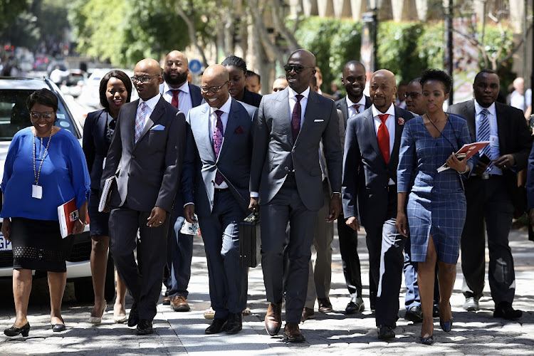 Finance Minister Malusi Gigaba, Deputy Finance Minister Sfiso Buthelezi and SARS commissioner Tom Moyane as well as their team ahead of the Budget speech.