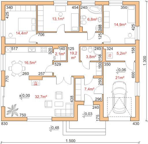 Dom przy Słonecznej 5 - Rzut parteru