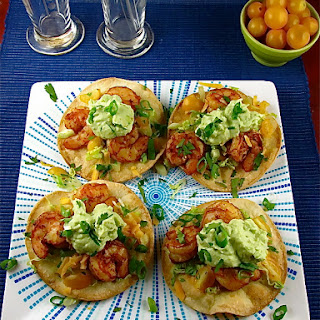 Avocado Crema over Shrimp Tostadas