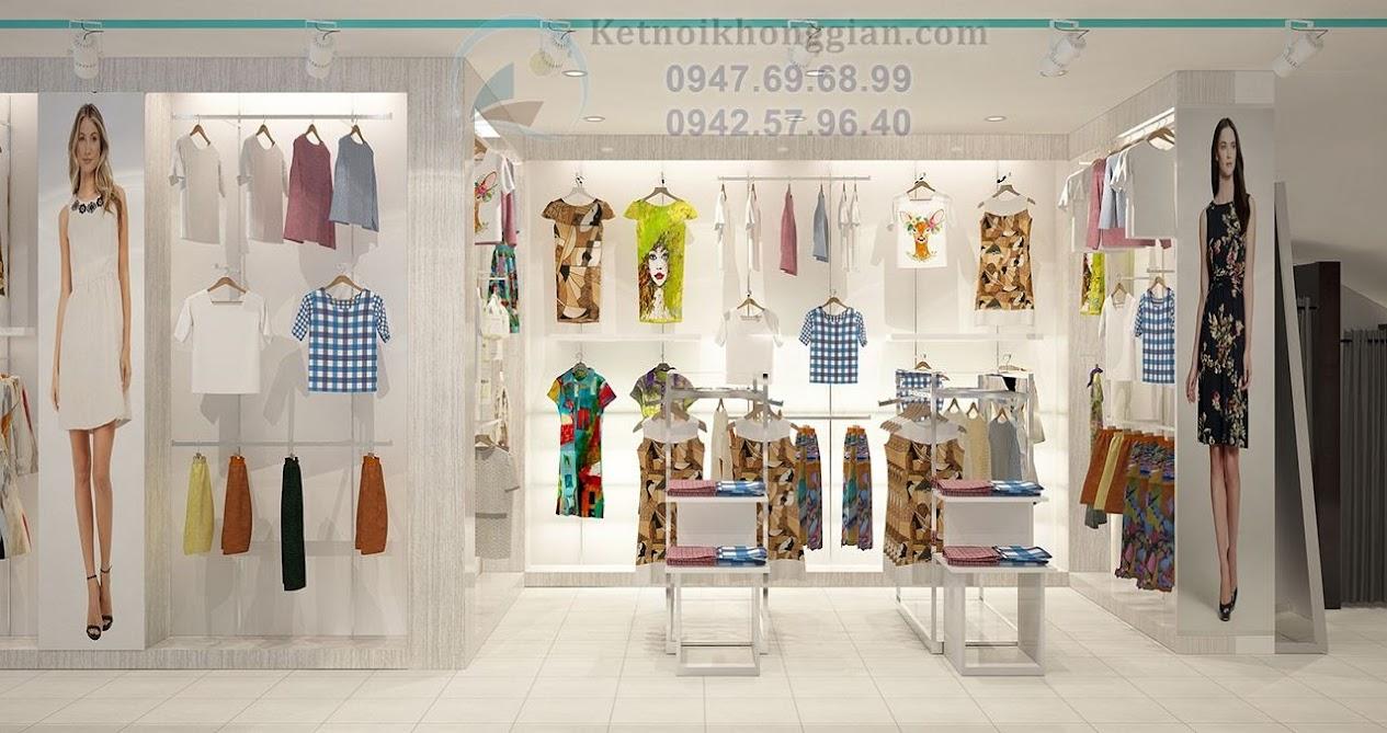thiết kế shop thời trang nam nữ có mặt bằng méo