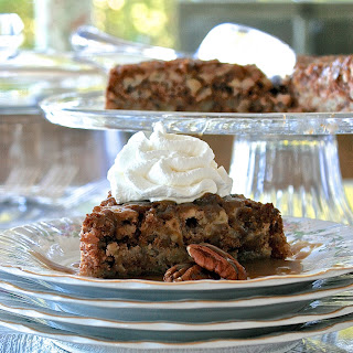 Best Old-Fashioned Nooks 'n Crannies Apple Cake with Pecans & 5-Minute Homemade Caramel Sauce.