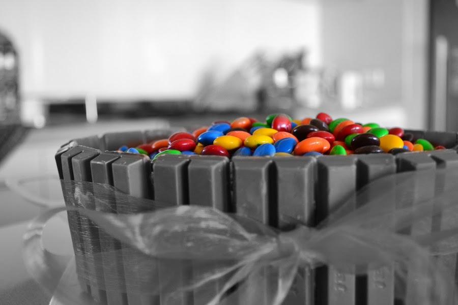 MMM Cake  by Sam Tullett - Food & Drink Candy & Dessert ( chocolate, ribbon, yum, kitkat, smarties )