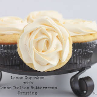 Lemon Cupcakes with Lemon Italian Buttercream Frosting.