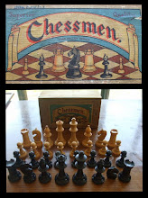 """Photo: A set of wooden """"Superior Quality"""" chessmen in the """"Chad Valley Series"""" (not owned)  The pieces and the box/label are typically-seen combinations.  The chessmen are in what might be termed 'rough' Staunton pattern, but look to be closer to those typically associated with French-made sets. Did CV import these or make them in the French style?  The dating of these sets is unknown - can they be taken as typical of the CV pieces referred to in the Jaques v Chess legal action?"""