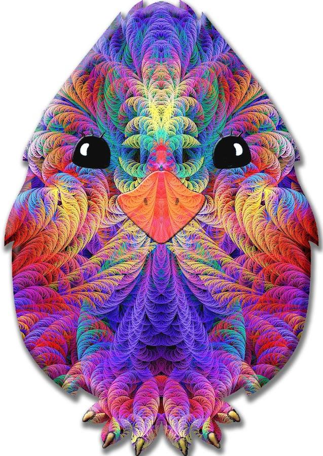 Rainbow Split Feather Chicken Little by Peggi Wolfe - Illustration Animals ( digital, gift, feather, chicken, color, wolfepaw, bright, pattern, abstract, décor, rainbow, print, split, unique, fractal, illustration, unusual, fun )