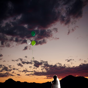 Off Into the Sunset by Scott Myler - Wedding Bride ( sunset bridal, salt flats bridals, salt flats bridal photography, scott myler, photography )