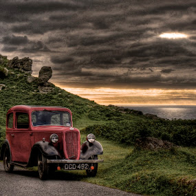 Valley of the Rocks by Luke Aylen - Landscapes Mountains & Hills ( car, clouds, hill, old, sky, classic car, red, hdr, devon, sea, cloud break, evening )