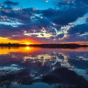 North Star Lake by Richard Duerksen - Landscapes Sunsets & Sunrises ( mn, reflection, sunset, north star lake,  )