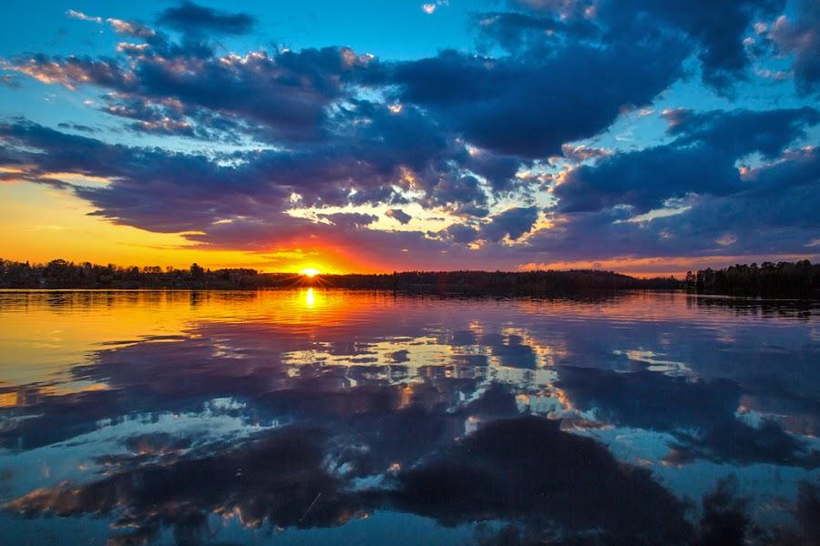 North Star Lake by Richard Duerksen - Landscapes Sunsets & Sunrises ( mn, reflection, sunset, north star lake,  )