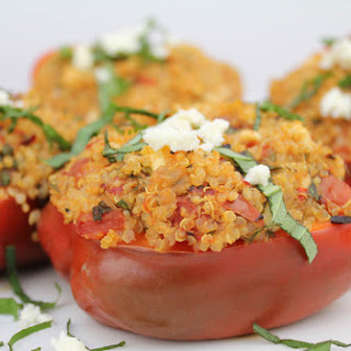 Stuffed Mediterranean Roasted Red Bell Peppers