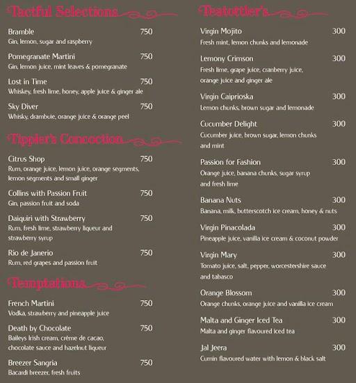 Tease, Vivanta By Taj menu 4
