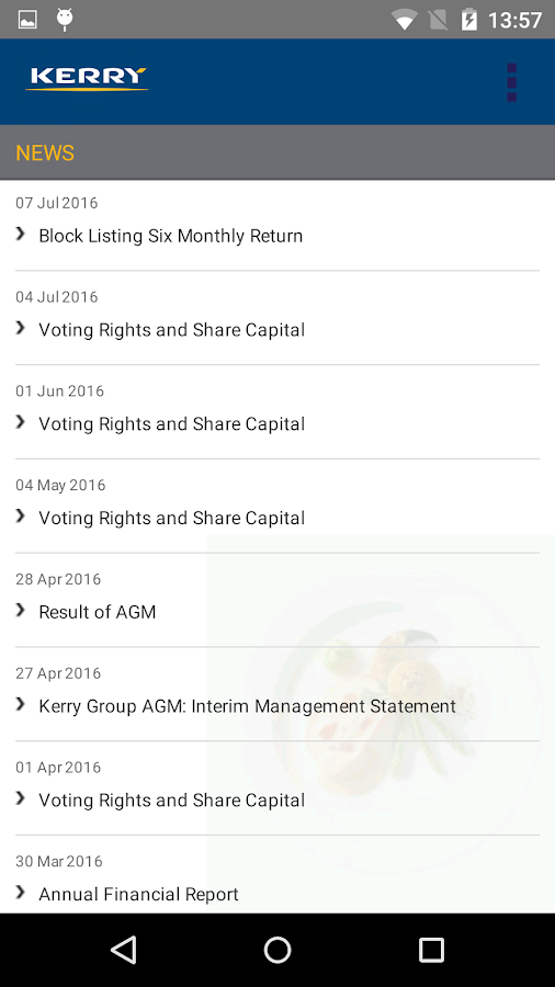 Kerry Group Investor Relations- screenshot