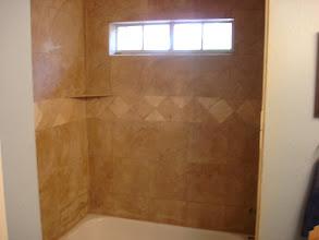 Photo: finished shower surround job W/13x13 porcelain
