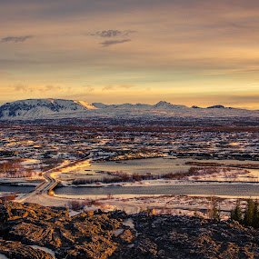Iceland view by Paul Glinowiecki - Landscapes Mountains & Hills ( clouds, mountain, color, s ow, sunrise, landscape, river,  )