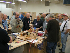 Photo: Ed called the audience up to the table for a closer look at his tools and techniques.
