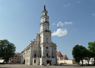 """Photo: The town hall building is nicknamed """"the white swan""""."""