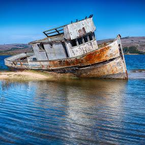 The Old Boat by Craig Turner - Transportation Boats ( grounded boat, boat wreck, pt reyes, inverness )