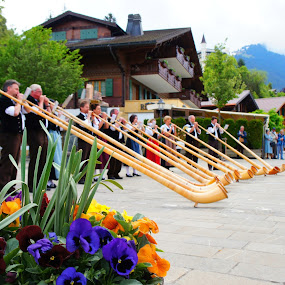 Alpenhorn players by Diane Dunn - People Musicians & Entertainers ( musical instrument, switzerland, folk dress )