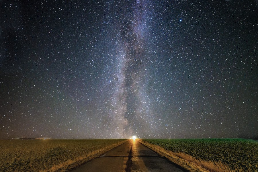 Road to eternity by Jocke Mårtensson - Landscapes Starscapes ( starry, road, milkyway, night, dark, stars )
