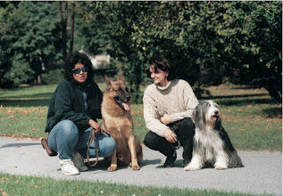 Photo: from left: Mrs Muller from USA, trainer of Rex and Jessica.