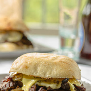 Steak Sandwich with Onions, Mushrooms, Havarti & Avocado
