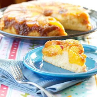 Peach Almond Upside Down Cake