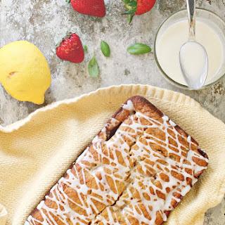 Strawberry Banana Bread with Lemon Basil Glaze