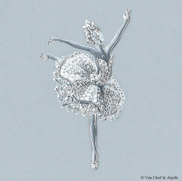Photo: Ballerine Odette clip in white gold, diamond headdress, bodice, tutu and slippers set with pavé diamonds, tutu trimmed with round and pear-cut diamonds.  The Ballerine Odette clip represents the famous white swan, a luminous symbol of innocence…
